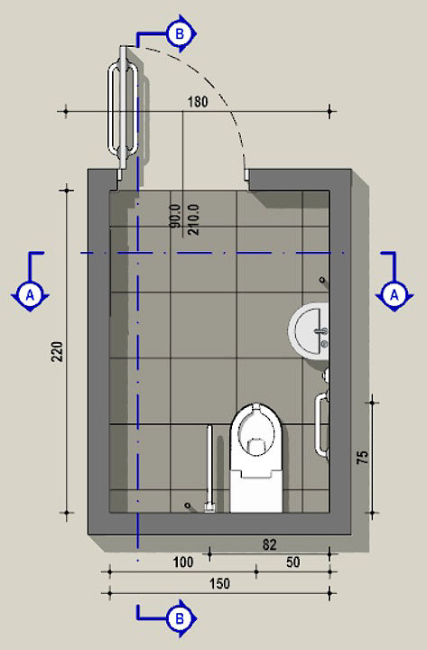 Accessible toilet floor plan with sizes