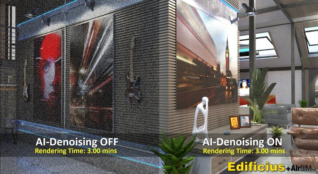 Machine LearningAI Denoiser completes a partially rendered image using Artificial Intelligence - difference between denoiser On/Off