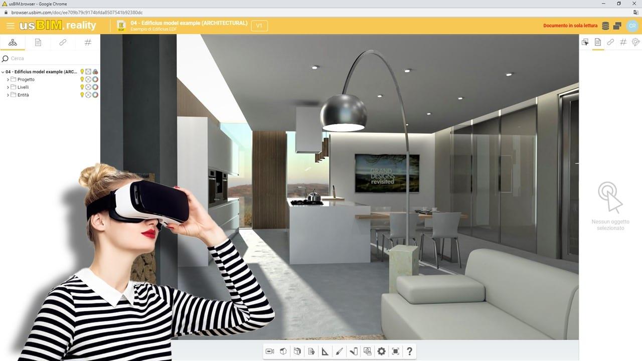 realtà virtuale (VR) online per l'architettura con usBIM.reality