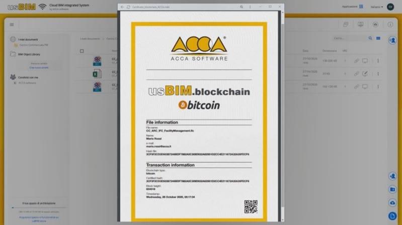 Attestato di registrazione rilasciato dalla Blockchain Bitcoin - usBIM.blockchain