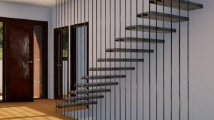render de interior con detalle de escalera en acero y madera