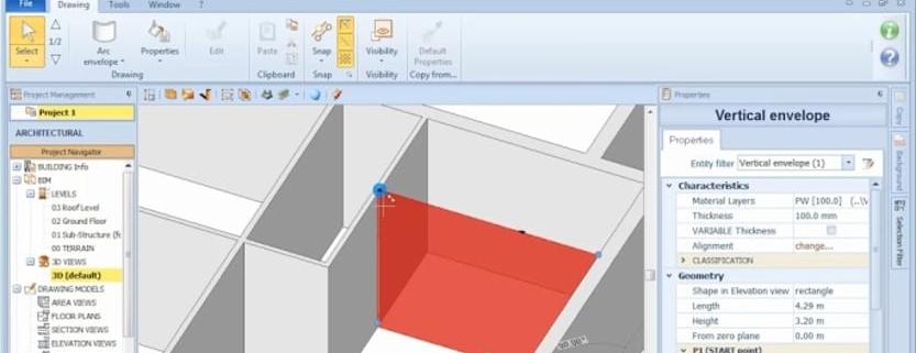 imagen que muestra una envolvente dibujada con el software bim Edificius