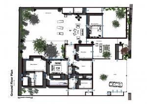 imagen que muestra una vista en planta de casa Altabrisa. La imagenes explicativa de la districucion espacial interior de la casa.