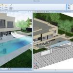 Imagen compuesta por una vista 3D renderizada y una sección de un proyecto de piscina exterior