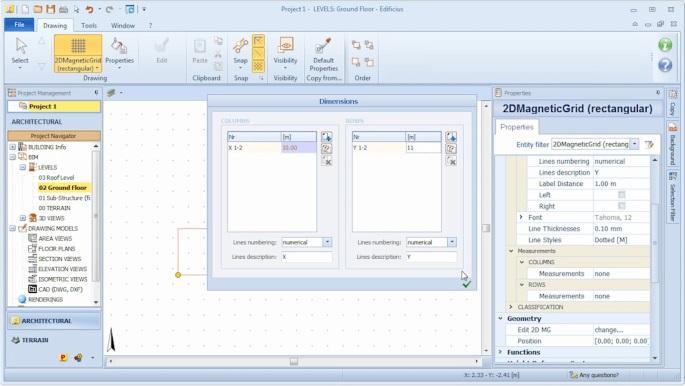 imagen que muestra como insertar una Magnetic Grid para el dibujo automatico de la envolvente