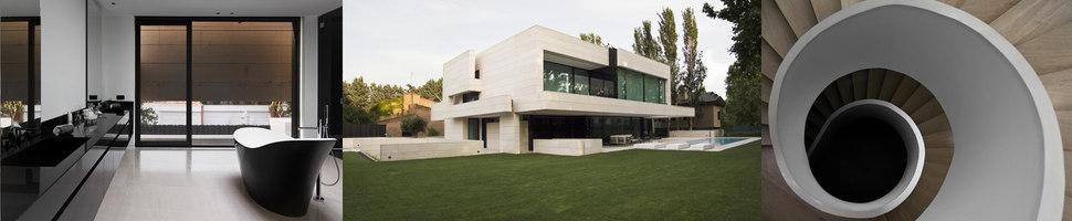 panoramica fotografica de interiores y exteriors de Park house, proyecto de casa unifamiliar realizada en Madris por el estudio A-cero