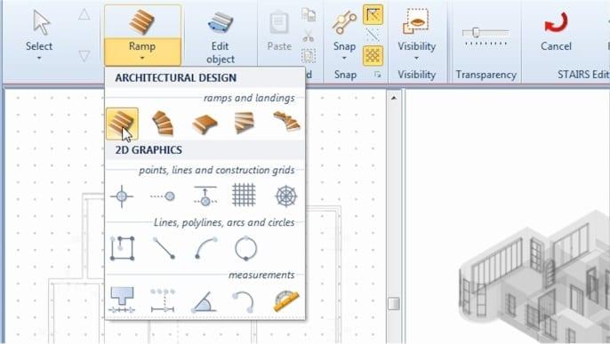 imagen que muestra como seleccionar el objeto escalera en el software Edificius