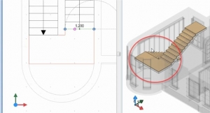 imagen que muestra como insertar un descancillo en el software Bim Edificius
