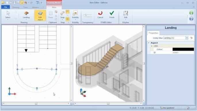 imagen que muestra como definir las caracteristicas de un descansillo en el software bim Edificius