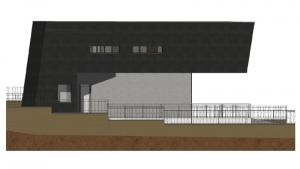 Imagen de la vista frontal de casa 8i realizada con el software BIM Edificius