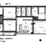 Imagen en color de la planta primera de casa HG realizado con el software BIM Edificius