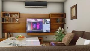 Render de la family room casa HG realizado con el software BIM Edificius