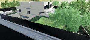 Render de una vista exterior con en detalle el vallado exterior