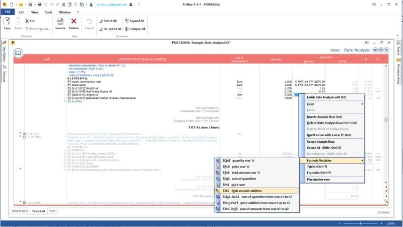 Imagen que muestra la configuración de los campos numéricos en el análisis de precios del software PriMus