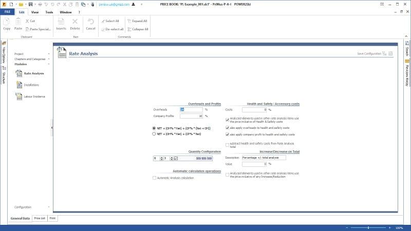 Imagen que muestra la ventana de configuración de los análisis de precios del software PriMus
