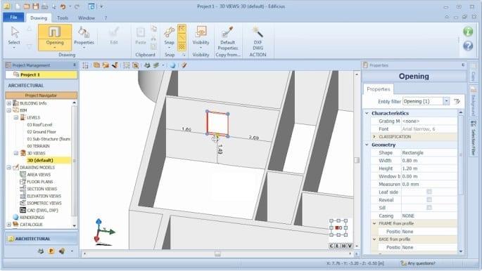 Imagen que muestra la interfaz del sofware Edificius y la inserción de una puerta, venta y hueco