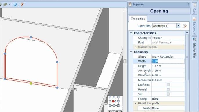 Imagen que muestra la interfaz del sofware Edificius y la inserción de un hueco y su personalización