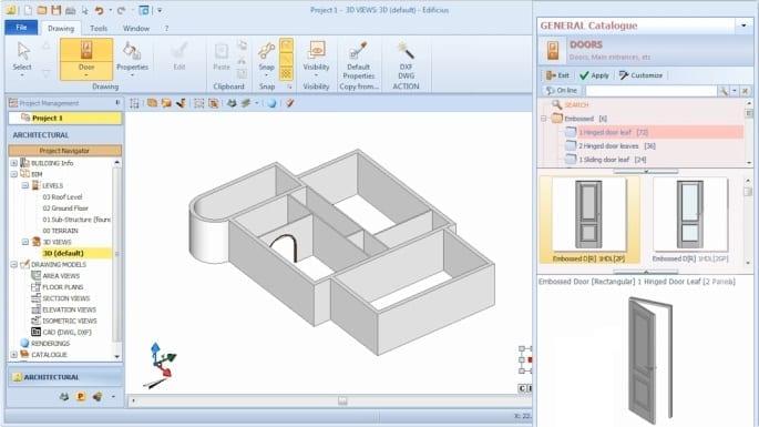 Imagen que muestra la interfaz del sofware Edificius y la inserción de una puerta eligiendola desde el catalogo de programa