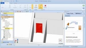 Imagen que muestra la interfaz del sofware Edificius y la inserción de una puerta adquieriendo las caracteristicas de una puerta ya insertada