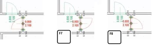 Imagen que muestra la interfaz del sofware Edificius y la inserción de una puerta y las modalidades para modificar el sentido de abertuta y la posicion de las bisagras
