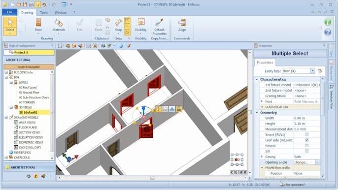 Imagen que muestra la interfaz del sofware Edificius y las modalidades para seleccionar contemporaneamente mas puertas a la ves