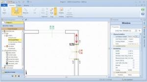Imagen que muestra la interfaz del sofware Edificius y las modalidades para posicionar un cerramiento en la pared