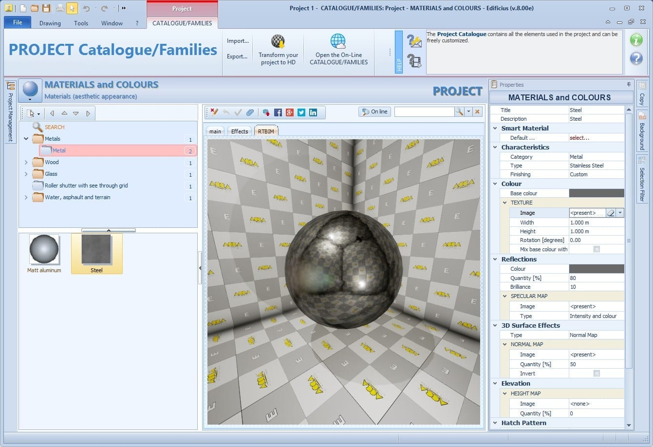 imagen che con interfaz del programa Edificius que muestra el Box efectos Mapeado de Texturas en un software BIM