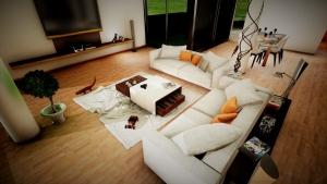 Render con detalle de la sala de estar de casa san roque