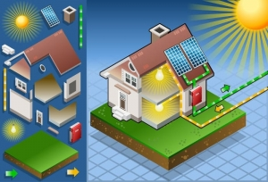 Imagen esquematica de un Ejemplo de configuración de una instalación fotovoltaica