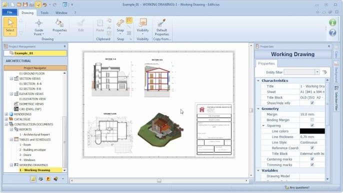 Ejemplo de plano ejecutivo realizado con Edificius