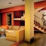 Render de interior sala de estar Casa SJ