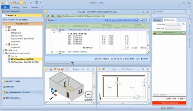 Salida de PriMus e actualización de mediciones en Edificius