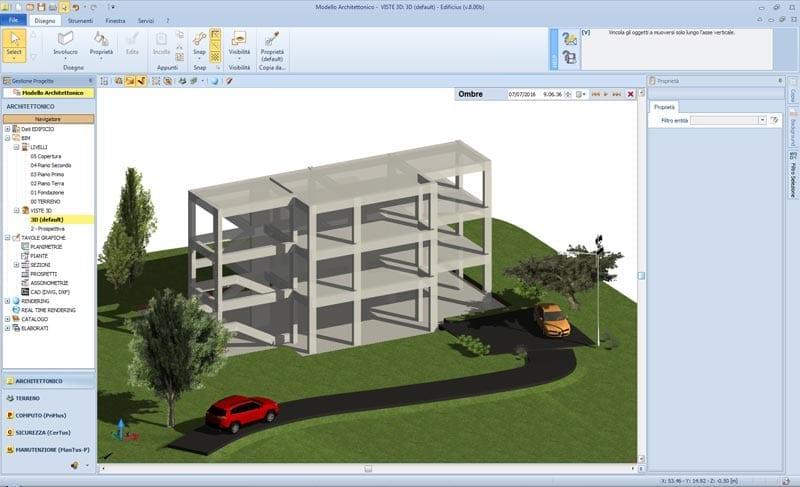 Modelo arquitectónico en Edificius: visualización de la estructura preliminar