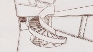 Escalera interna efecto artístico - Park House - Edificius