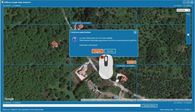 Importación área desde Google Maps con Edificius