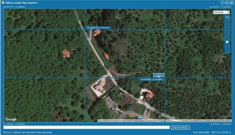 Selección del área para importar desde Google Maps