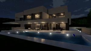 Vista nocturna Piscina - Park House - Edificius