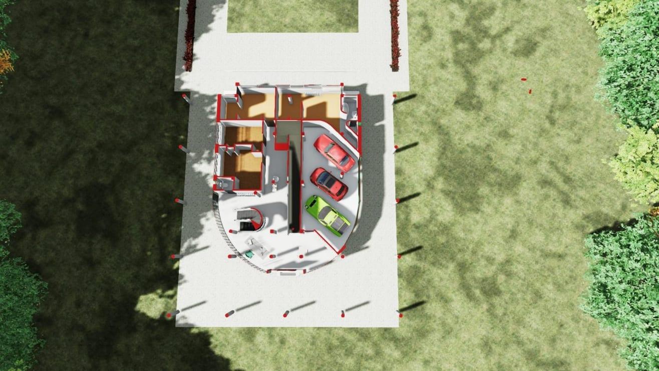 Corte Axonométrico planta libre y pilotes Villa Savoye