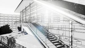 Escalera externa con efecto visual