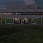 Fachada nocturna Villa Savoye - Le Corbusier