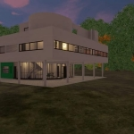 Vista nocturna Villa Savoye - Le Corbusier