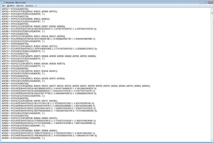 Modelo IFC abierto con Bloc de Notas