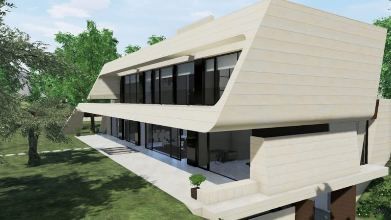 Particular de la fachada -Marble y Bamboo - Edificius