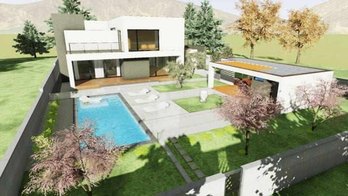 Render de un modelo arquitectónico BIM