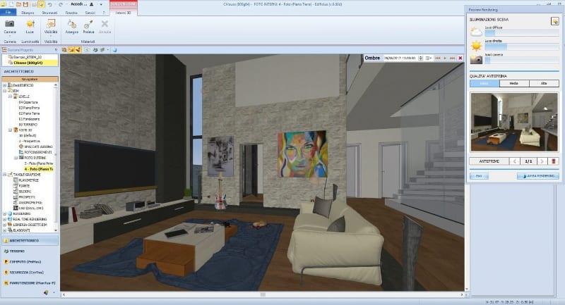 Configuración iluminación de la escena y vista premia del render