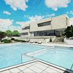 Render piscina con efecto gráfico