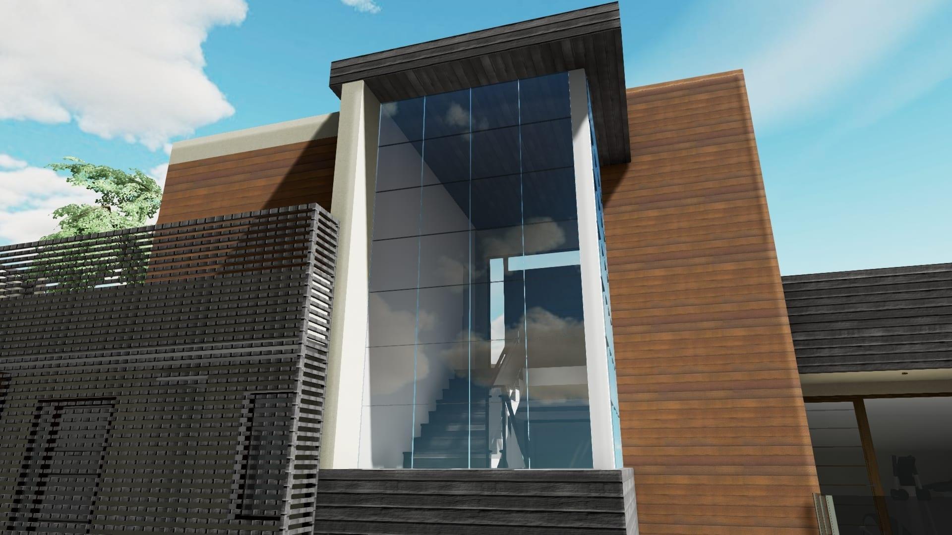 Render muro cortina - Cuboid House