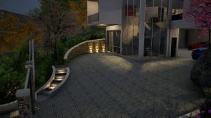 Vista nocturna escalera externa