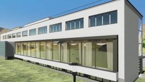 Render de la ventana horizontal de la biblioteca Viipuri