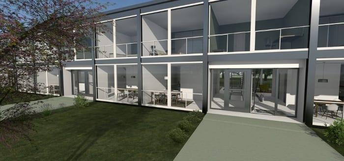 Ejemplo de casas adosadas basado en el modelo del proyecto Parque Lafayette, obra de L. Mies van der Rohe – rendering realizado con el software Edificius